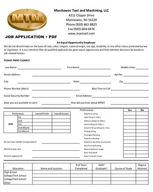 Job Application PDF